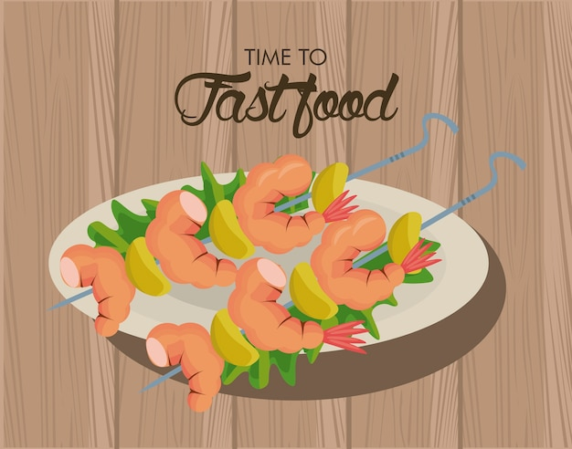 Shrimp skewers in dish delicious fast food icon  illustration