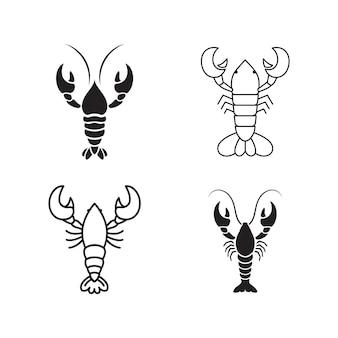 エビのベクトルアイコンイラストデザインテンプレート