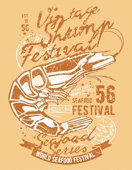 Shrimp vintage illustration design