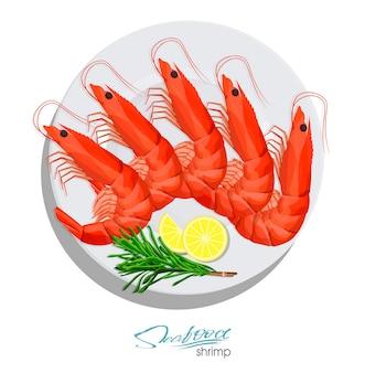 접시에 로즈마리와 레몬을 얹은 새우 만화 스타일 해산물 제품