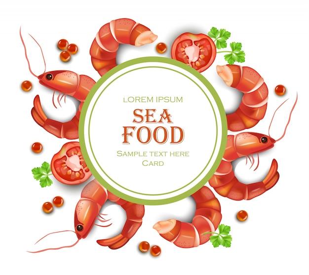 Shrimps card with round frame seafood illustration