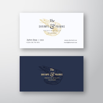 Shrimps and prawns seafood abstract elegant  sign or logo and business card template. premium stationary realistic mock up. modern typography and soft shadows.