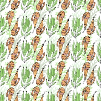 Shrimps and seaweed vector seamless pattern. wrapping packaging menu design