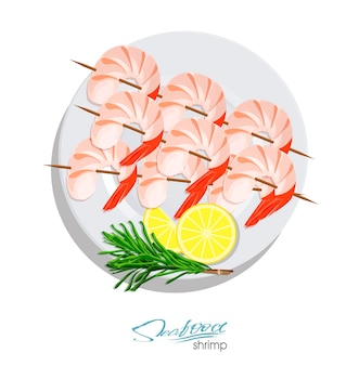 Shrimps on a skewer with rosemary and lemon on the plate vector illustrationin cartoon style
