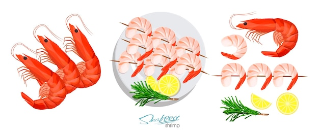 Shrimps on a skewer with rosemary and lemon on the plate