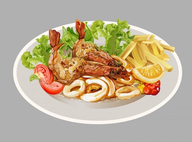 エビ、イカ、フライドポテト、野菜