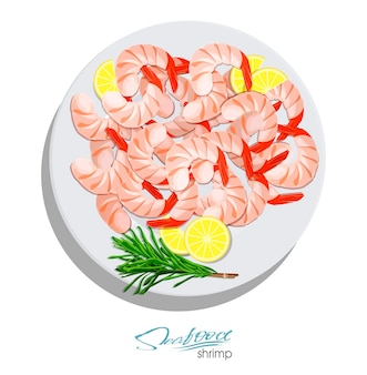 Shrimps with rosemary and lemon on the plate vector illustrationin cartoon style