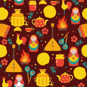 Shrovetide russian seamless pattern. russian holiday shrovetide.