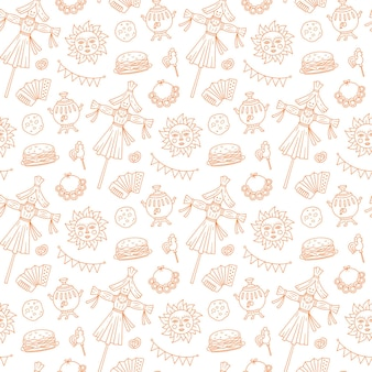 Shrovetide seamless pattern. maslenitsa week elements - blins, sun, scarecrow of winter, accordion.