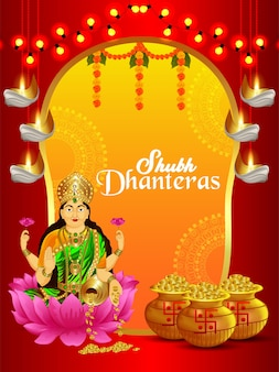 Shubh dhanteras celebration background with gold coin pot and goddess laxami
