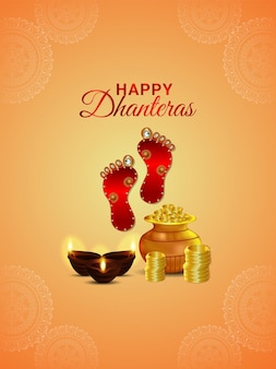 Shubh dhanteras celebration poster with creative gold coin pot and footprint of goddess laxami