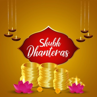 Shubh dhanteras greeting card design with golden coin pot with lotus flower