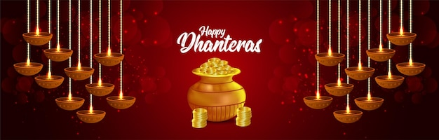 Shubh dhanteras indian festival background with gold coin pot