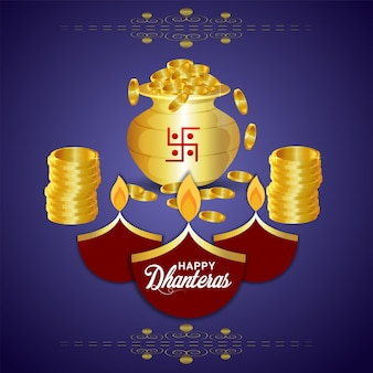 Shubh dhanteras indian festival greeting card with gold coin pot
