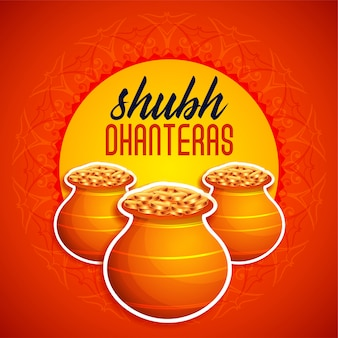 Shubh dhanteras orange festival card illustration
