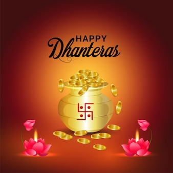 Shubh dhanterasは、創造的な金貨の壺と蓮の花でインドのお祝いの祭り