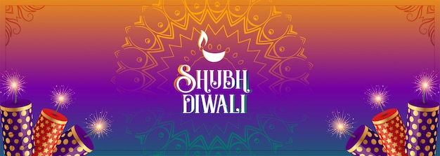 Shubh diwali colorful cracker celebration banner