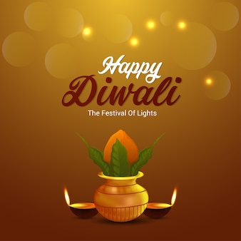 Shubh diwali festival of light invitation greeting card and background