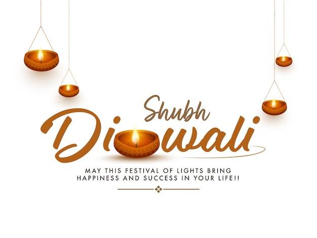 Shubh diwali font with illuminated oil lamps decorated on white background.