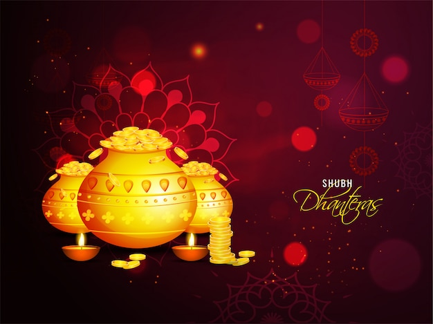Shubh (happy) dhanteras celebration greeting card with golden coin pots and illuminated oil lamps (diya) on brown mandala lighting effect background.