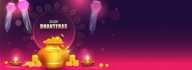 Shubh (happy) dhanteras header or banner design with illustration of golden coins pot, illuminated oil lamps (diya) and paper lanterns decorated on background.