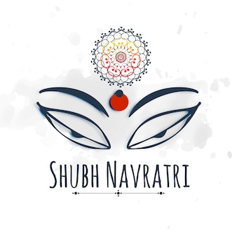 Shubh (happy) navratri праздник дизайн с maa durga прекрасный глаз