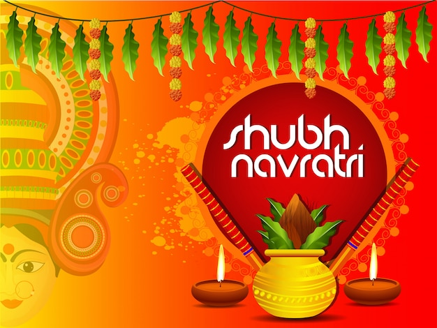 Shubh navaratri of maa durga greeting card