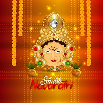 Shubh navratri creative background with goddess durga and kalash