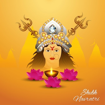 Shubh navratri indian festival celebration greeting card with goddess durga illustration and lotus flower