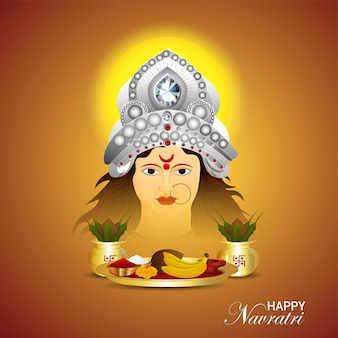 Shubh navratri indian hindu festival greeting card and background