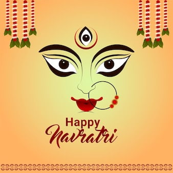 Shubh navratri with goddess durga illustration