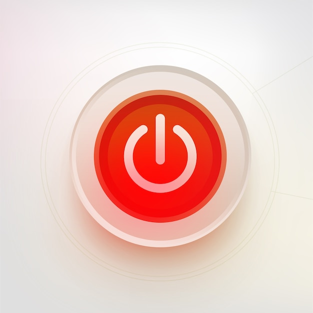 シャットダウンボタン。技術イラスト。赤い電源ボタン