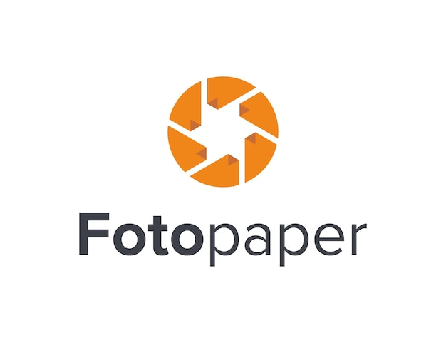Shutter camera photo and paper simple sleek creative geometric modern logo design