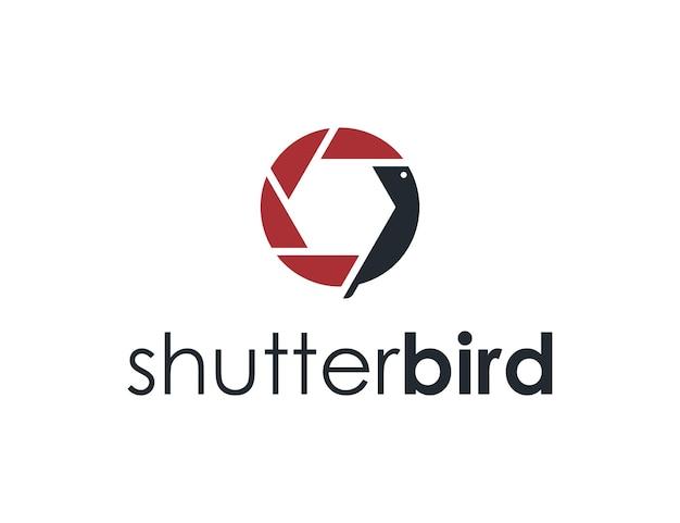 새가 있는 셔터 카메라 단순하고 세련된 창조적 기하학적 현대 로고 디자인