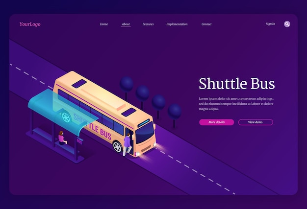 Shuttle bus isometric landing page