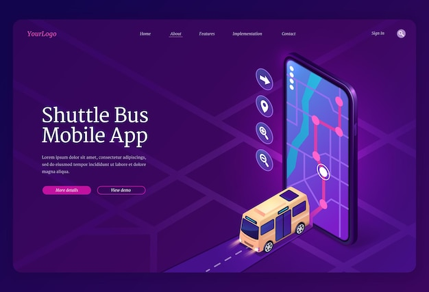 Pagina di destinazione isometrica dell'app mobile del bus navetta. domanda di controllo della posizione di trasporto. Vettore gratuito