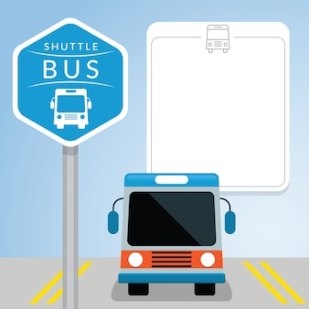 Shuttle bus with sign, front view, blank space