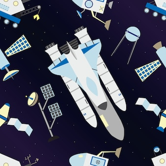 Shuttle, satellites, moon rover in seamless pattern