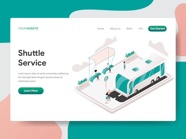 Shuttle service isometric illustration. landing page