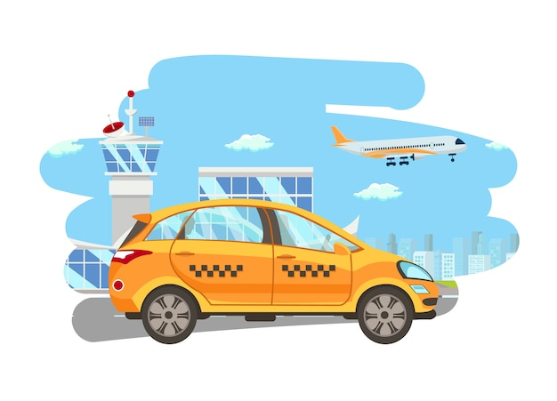 Shuttle services flat vector cartoon illustration