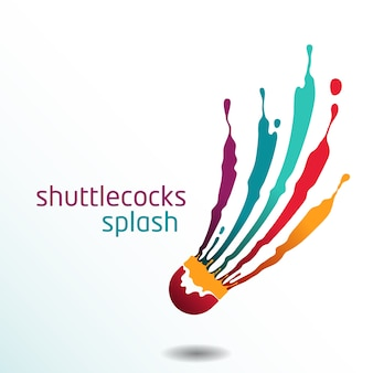 Shuttlecocks splash badminton vector