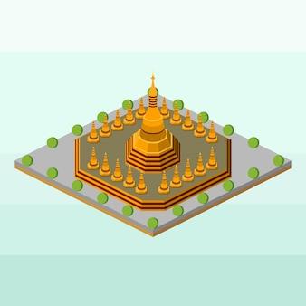 Shwedagon pagoda of myanmar in isometric