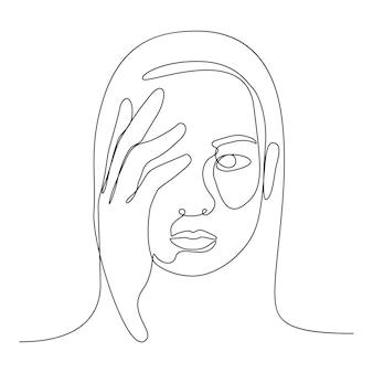 彼女の気持ちを心配するためのハンドカバー付きの恥ずかしがり屋の顔のラインベクトル文字。