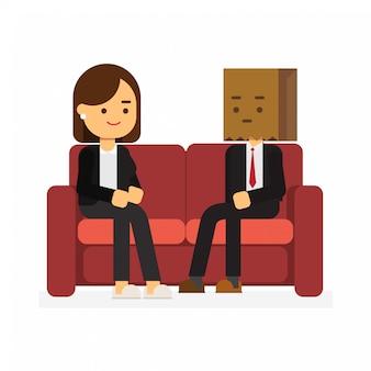 Застенчивый мужчина сидит рядом с женщиной