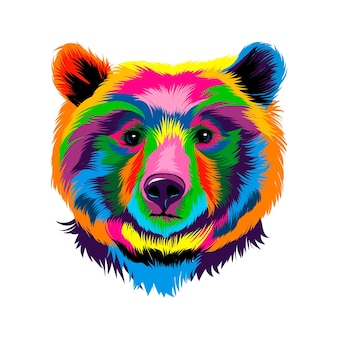 Siberian brown bear from multicolored paints splash of watercolor colored drawing realistic