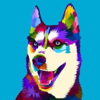 Siberian husky dog in pop art style