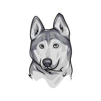 シベリアンハスキー犬 - ベクトルロゴ/アイコンイラストマスコット