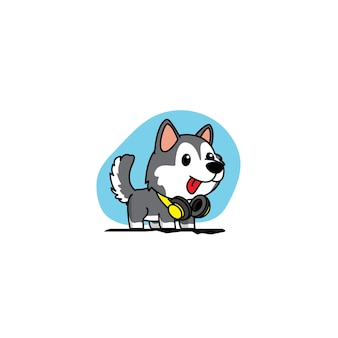 Siberian husky puppy with yellow headphones icon