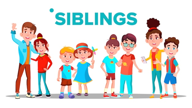 Siblings, cheerful brothers and sisters banner