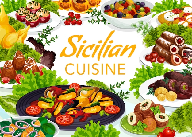 Sicilian cuisine illustration design